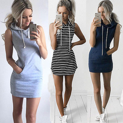 2017 Casual Women Girls Loose Cotton Striped Pockets Hooded Bodycon Sleeveless Tops Party Cocktail   Blouse     Shirts   Summer Clothes