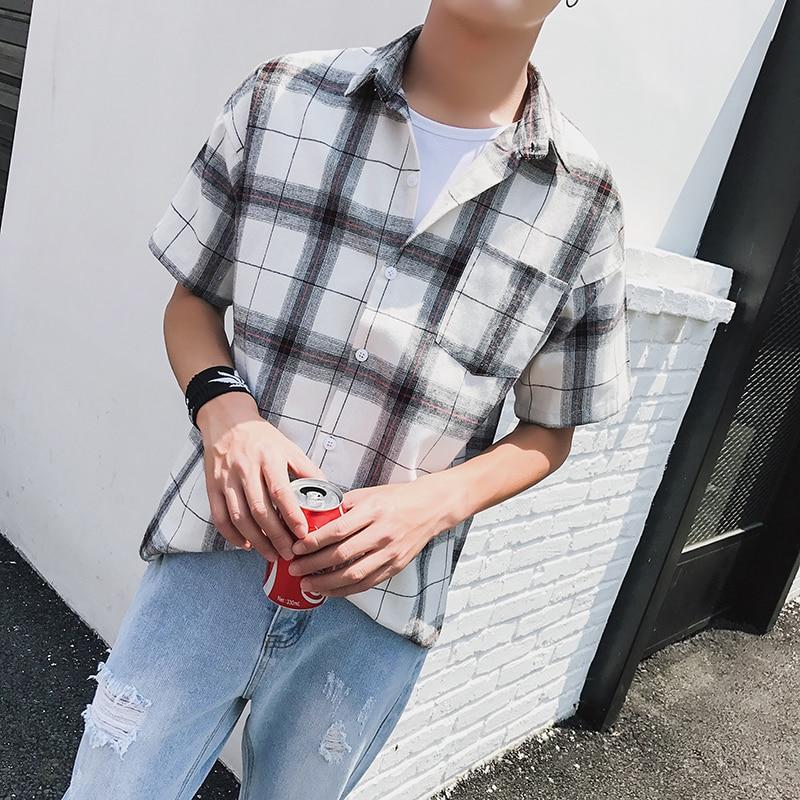 LEGIBLE Men Plaid Short Shirts 2019 Mens Harajuku Streetwear Casual Loose Hip Hop Half Sleeve Shirt Male Fashion 2