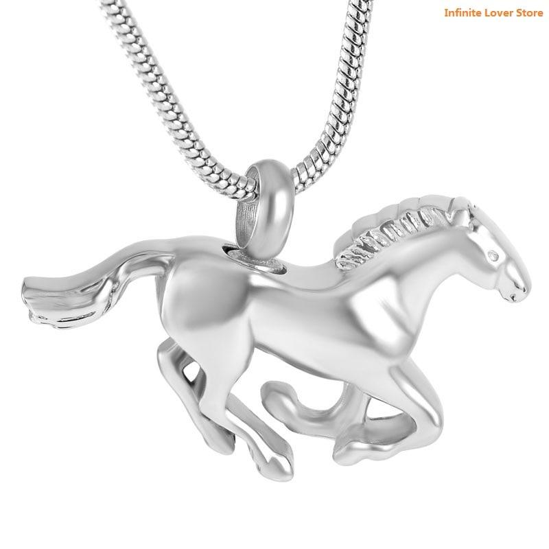 KLH8669 prix bon marché en gros!! pendentif d'urne de crémation de cheval d'acier inoxydable pour des bijoux commémoratifs de souvenir d'animal familier pour des enfants