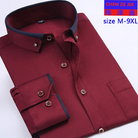 New super mens Large Long Sleeves Double Square Collar Formal Dress Shirts Spring Single Breasted plus size MLXL 8XL9XL 39 49