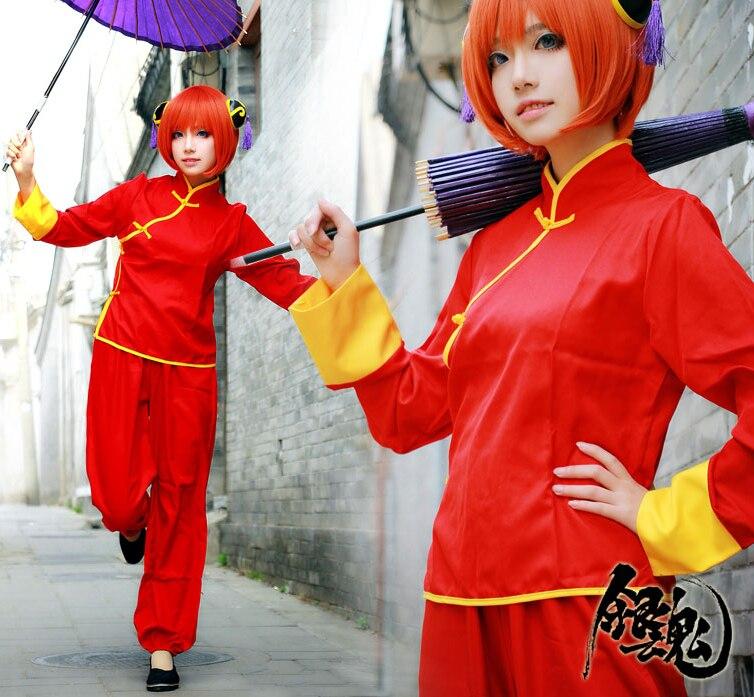 Home Anime Cosplay For Future Kagura Gin Tama Hairpin Wigs Umbrella Boots Japanese Vestidos Kimono Costumes For Adult Halloween Party Long Performance Life