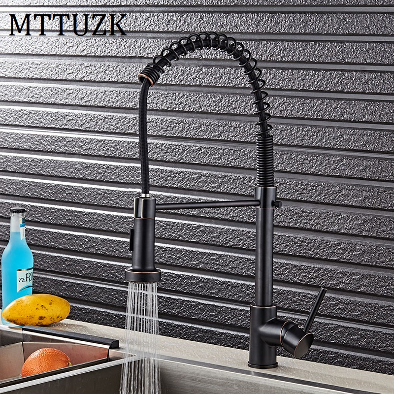 MTTUZK ORB Brass Spring Faucet Kitchen Faucet Hot and Cold Mixer Crane Deck Mount Pull Down Dual Sprayer Nozzle Water Taps chrome spring pull down kitchen mixer faucet deck mount 360 rotation side spout dual spryaer kitchen hot and cold taps