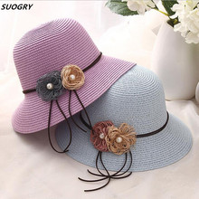 2018 New Fashion Women Hats with Flower Lady Summer Beach Sun Solid Female Straw Bucket Packable Wide Brim
