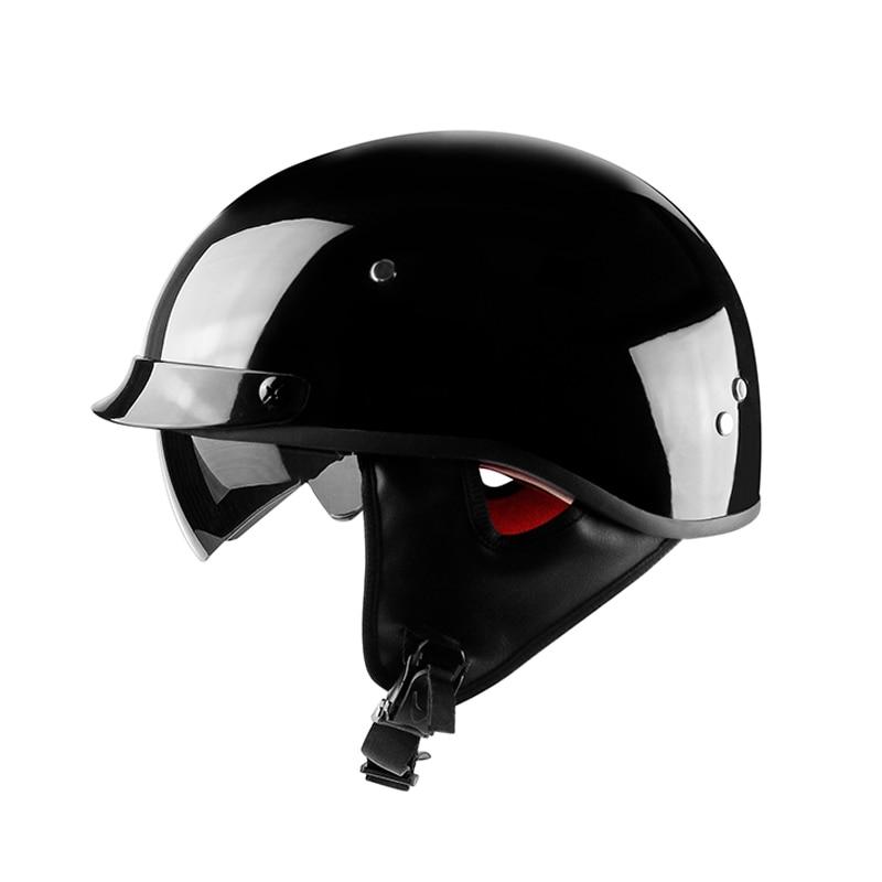 New Arrival Vintage Half Face Motorcycle Helmet Casco Casque Moto Retro Helmets With Inner Sun Visor