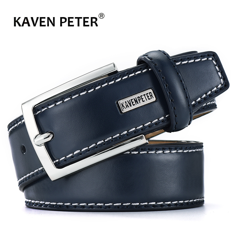 Men Genuine Leather Belt Fashion Real Leather Belts For Men With Single Prong Buckle Dress Black Cowskin Belt Ceinture Homme