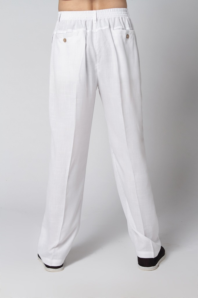Free Shipping White Chinese Men s Linen Kung Fu Pants Trousers Size S M L XL