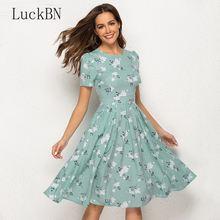 Платье с цветочным принтом; Новинка 2020 года; Модные женские