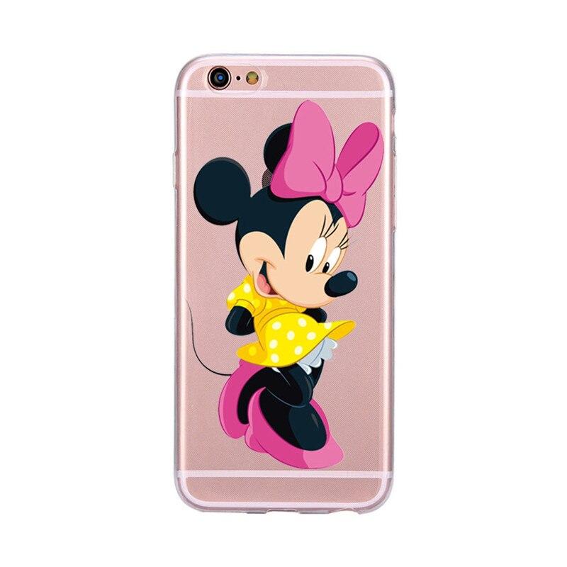 For iPhone 7 Iphone 8 Phone Case Cute Cat Minnie Mouse Cat Rapunzel Princess Mermaid Cartoon Case Soft Silicone Case Cover Funda