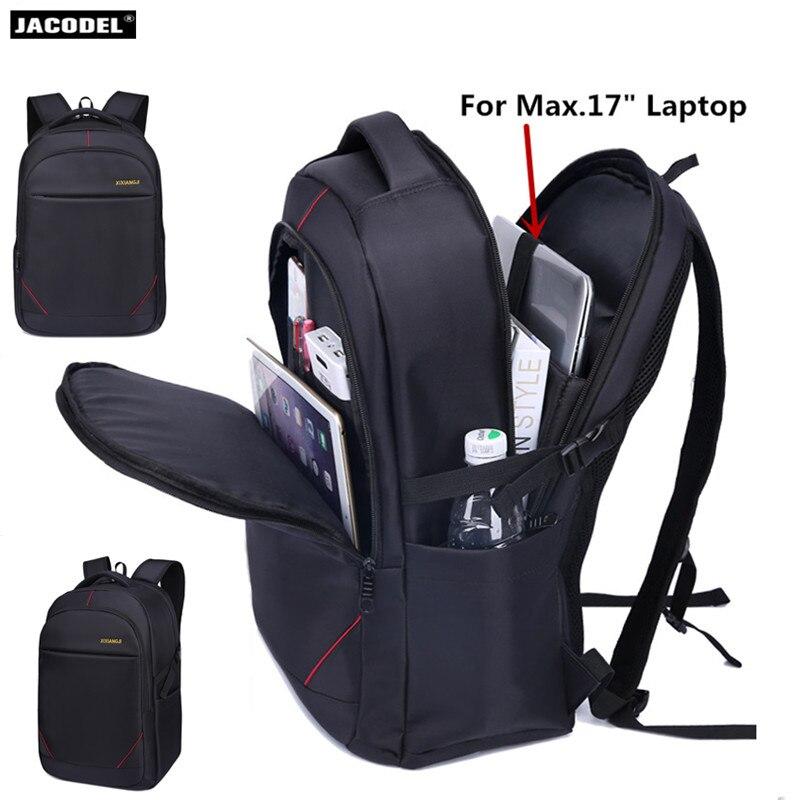 Jacodel 17 pouces sac à dos pour ordinateur portable pour hommes imperméable 17 pouces pochette d'ordinateur pour adolescent décontracté sac d'école sac à dos sac de voyage 15.6 17