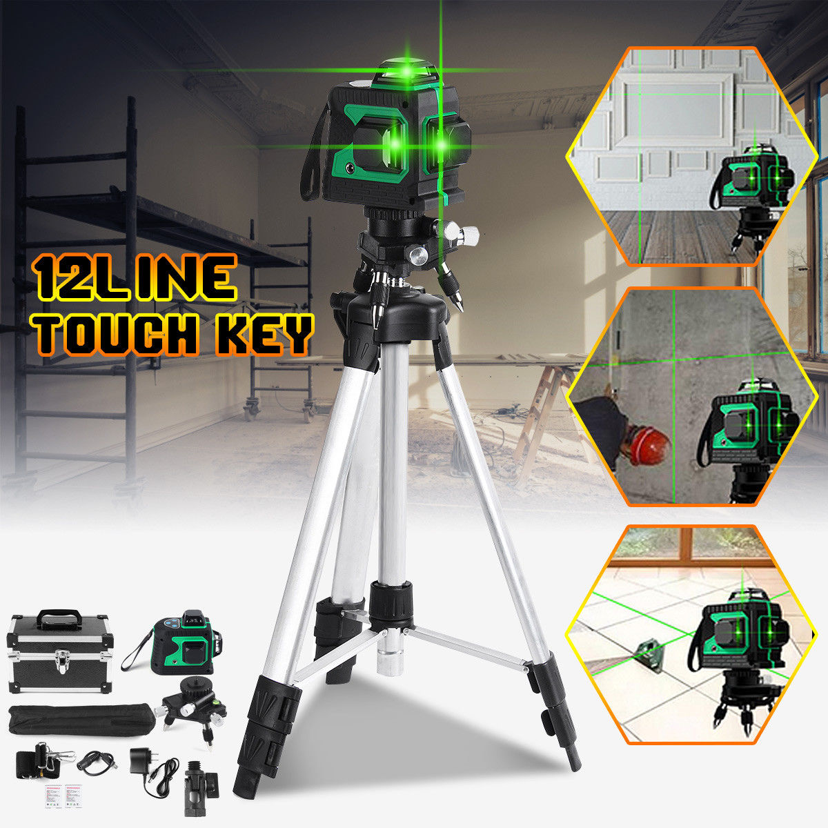 12 Line 3D Green Laser Level Self 360Rotaty Outdoor Receiver Leveling Vertical Horizontal Cross Level Multi Slash Function multi function green
