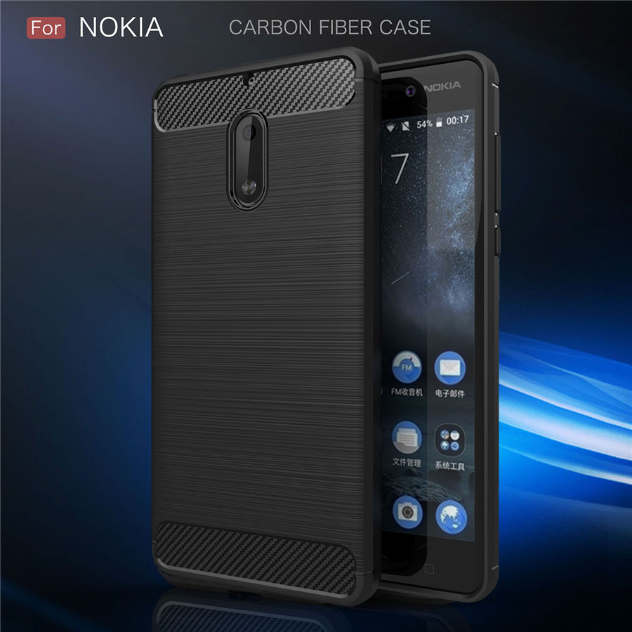 Shockproof Phone Case For Nokia 6 Case 7 8 Sirocco 5 3 2 Nokia 7 Plus X3 X5 X6 X7 Carbon Fiber TPU Silicone Phone Cases Cover nokia 8 new 2018