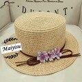 Flor de la manera de Cubo de playa de las señoras sombrero de paja para las mujeres de ala ancha sombrero para el sol Sombrero de La Iglesia de Hueso Chapeu Feminino