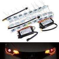 Mayitr 2Pcs Car Flexible Switchback Flowing LED Strip Light Turn Signal Headlight White Amber Lamp With
