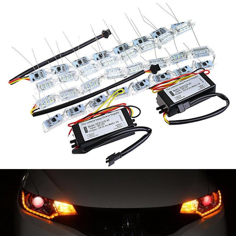 Mayitr 2Pcs Car Flexible Switchback Flowing LED Strip Light Turn Signal Headlight White Amber Lamp with Light Power Supply