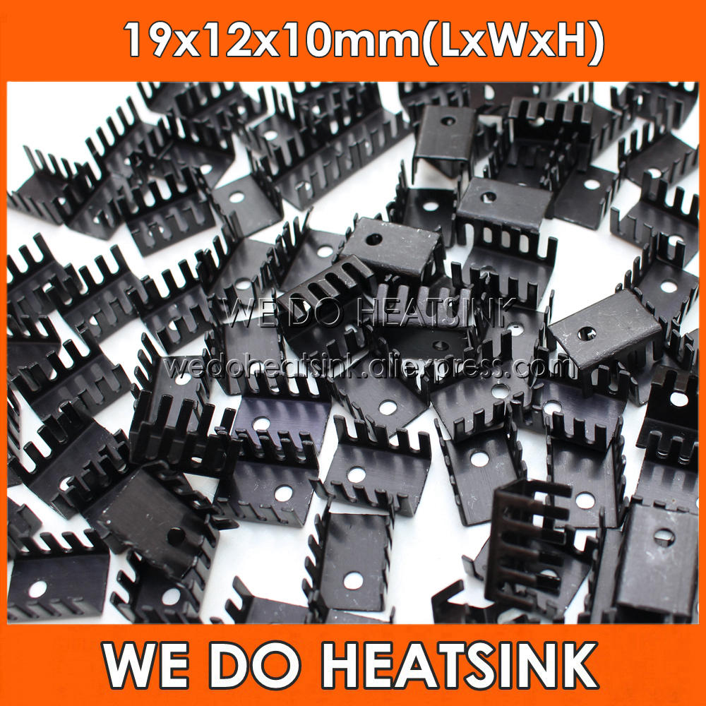 WE DO HEATSINK 20pcs Stamping 19*12*10mm DIY Black Anodized Heatsink Stamping Aluminum Heat Sink For TO-220/TO220