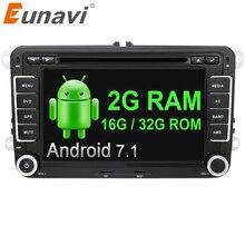Eunavi 7 дюймов 2 Din Android 7,1 Автомобильный gps Радио Стерео dvd плеер для VW GOLF 6 поло Бора JETTA B6 PASSAT Tiguan SKODA OCTAVIA