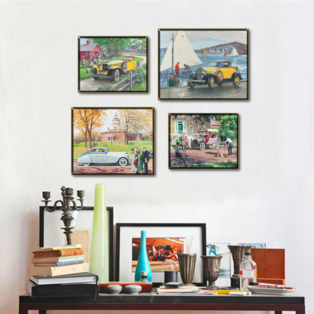 Unframed Multiple Pieces HD Canvas Painting Beat-up Car Wall Pictures Prints Wall Pictures For Living Room Wall Art Decoration