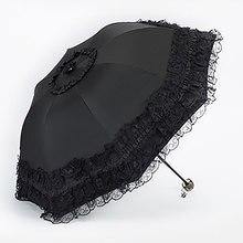 Guarda-chuva feminino de renda e renda, guarda-sol preto dobrável, decoração para sol, guarda-chuva, princesa, invertido