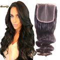 7A Best Brazilian Loose Wave Closure 100% Virgin Human Hair Closure 4x4 Swiss Top Lace Closure Bleached Knots Free Middle 3 Part