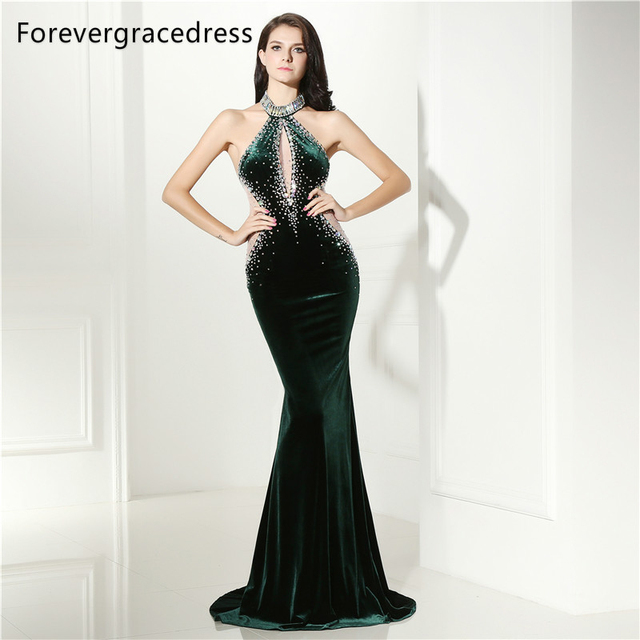Forevergracedress Sexy Halter Neck Prom Dress Mermaid Dark Green Beaded  Crystals Long Formal Party Gown Plus Size Custom Made 75075b4d04bc