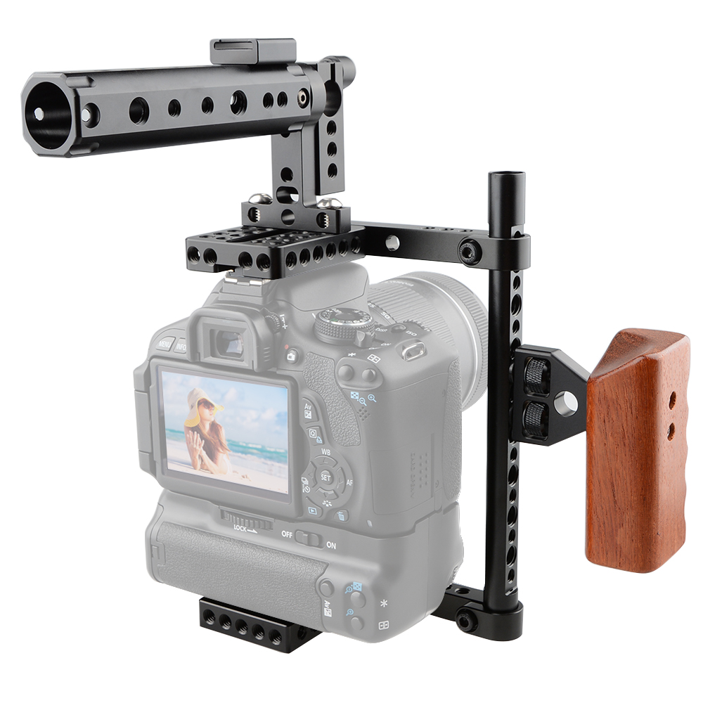 CAMVATE DSLR Camera Cage Protector Camera Stabilizer Top Handle Wood Grip for Canon 600D 70D 80D, GH5
