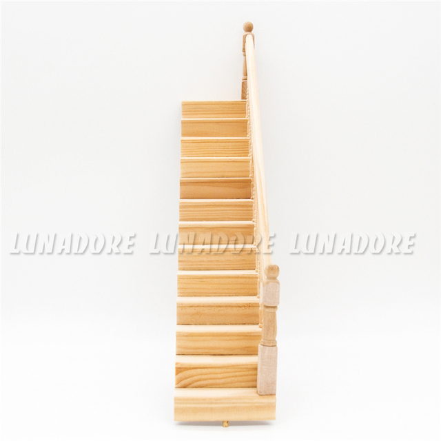 Odoria 1:12 Miniature Pre Assembled Wooden Staircase Stringer Step With  Right Handrail For