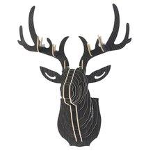 Dozzlor 3D деревянные животные голова оленя художественная модель домашний офис Настенный декор для хранения Держатели стеллажи подарок ремесло Домашний декор