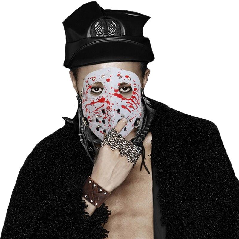 Punk Rivets Men Cosplay Mask Biker Windproof Outdoor Full Face Mask Masquerade Party Men Unisex PU Leather Mask Adjustable