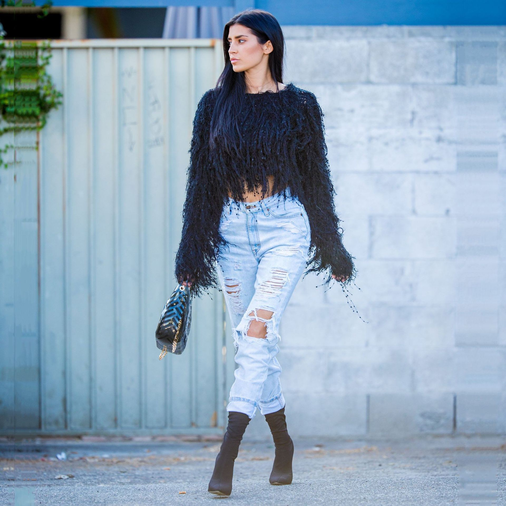 Women Solid Cropped Sweater Winter Tassel Mohair Sweater Shaggy Yarn Knitted Jumper Pullovers Sweater Thick Tops