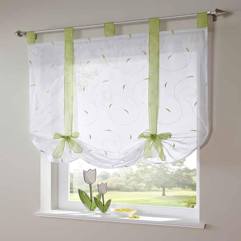 1pcs Luxury Ribbon Pastoral Roman Short Curtain