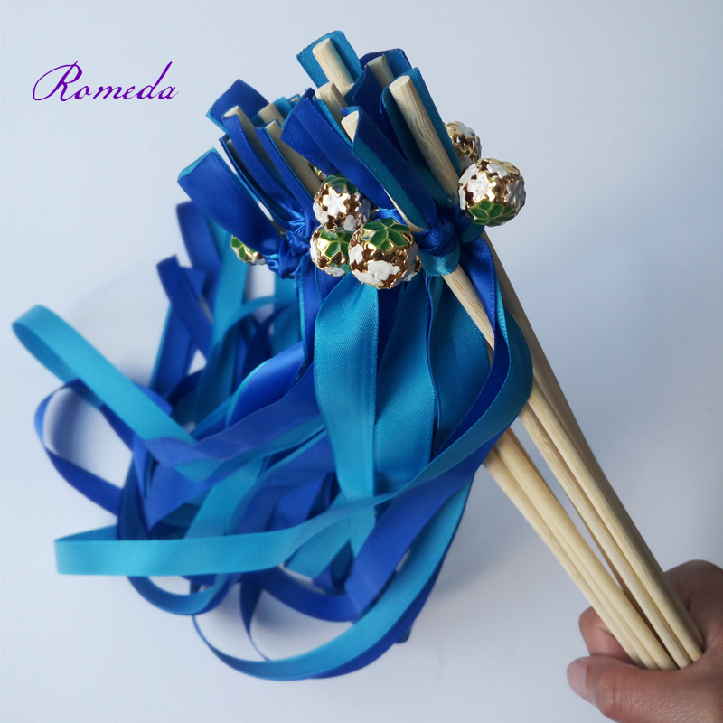 New Hairstyle For Wedding Ceremony: New Style Royal Light Blue Stain Ribbon Wands Ceremony