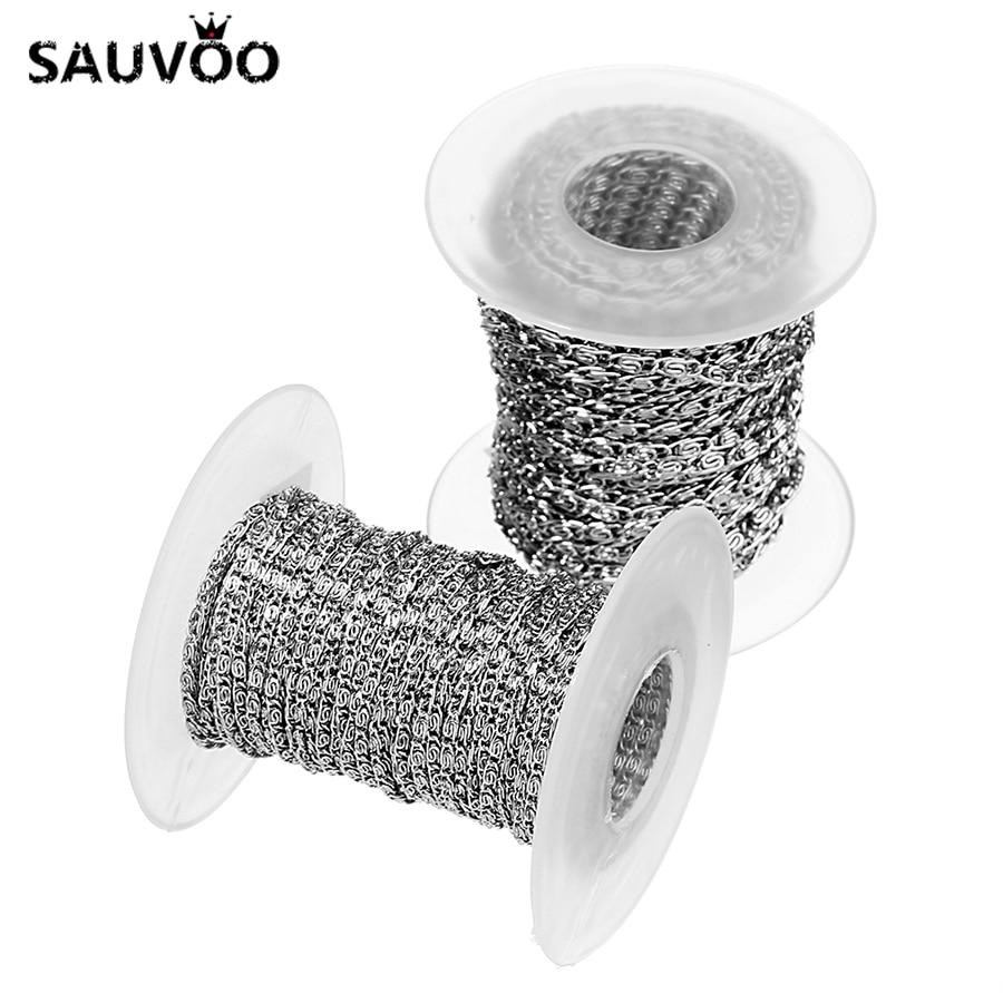 SAUVOO 10 Yard/lot Stainless Steel Bulk Chains Wide 2mm 3mm Men Women Necklace Bracelet DIY Handmade Jewelry Making Findings