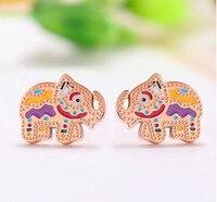 Super buona qualità colore baby elephant orecchini In Oro rosa placcato d'acciaio di titanio di colore rosa color Oro orecchini ME-102