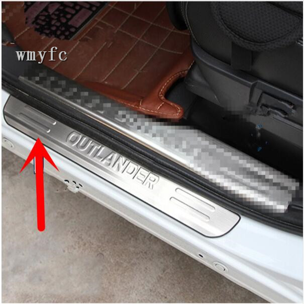 Stainless steel door sill strip for 2009-18 MITSUBISHI OUTLANDER Threshold trim car styling welcome pedal Scuff plate cover film