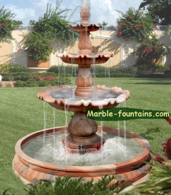 Superbe Outdoor Waterfall Fountains Evening Red Marble Outdoor Waterfall Fountains  Home Garden Small Three Tier Fountain With
