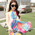 Wearable Chiffon Silk Scarf Women Sunscreen Ponchos And Capes Floral Print Multi-function Shawl Oversize Echarpes Foulards Femme