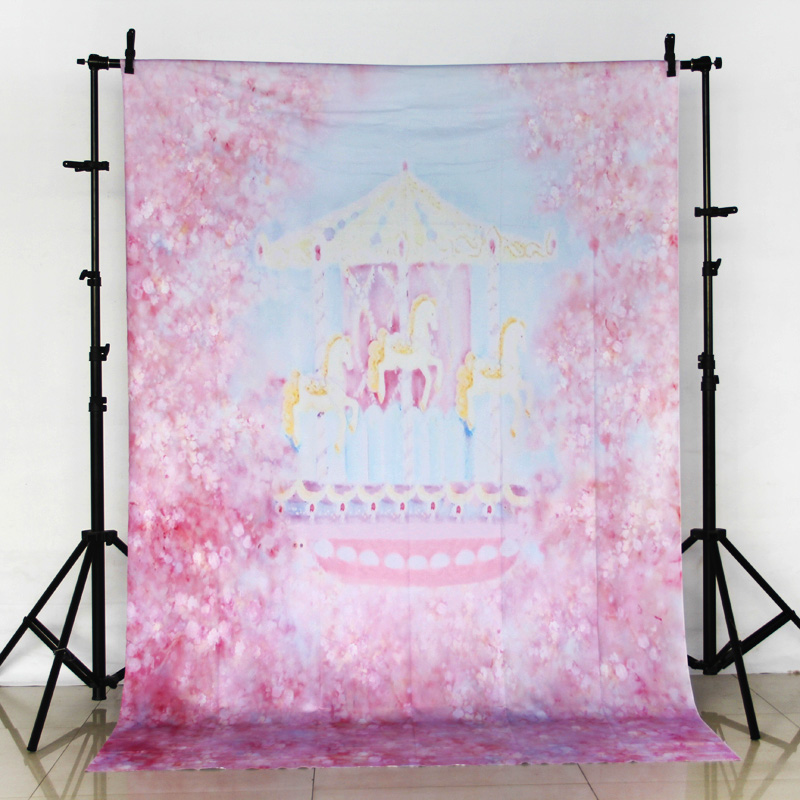 Vinyl Photography Backdrop Computer Printed Photo Background for Photo Studio Pink Flower Carousel Children backdrops ZH-239 vinyl photography background bokeh computer printed children photography backdrops for photo studio 5x7ft 888