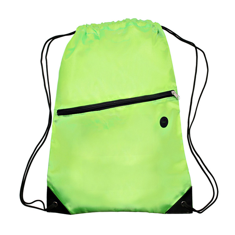 Hot Sell Custom Made Polyester Drawstring Backpack Bag With Front Zipper Pocket And Headphone Hole