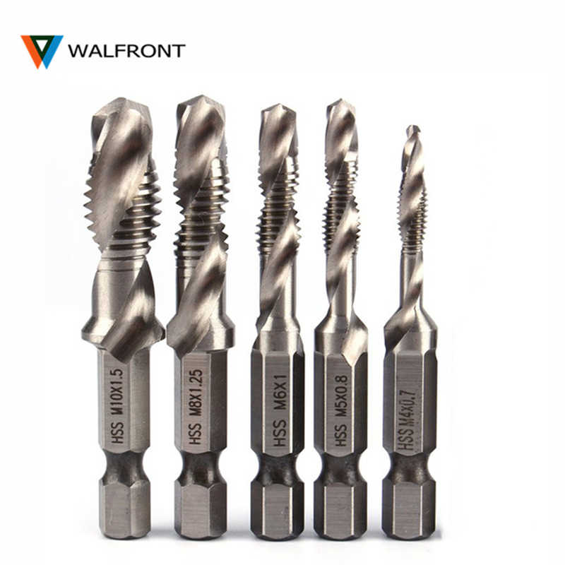 "WALFRONT 1/4"" Hex Shank Drill Bit HSS Metric Screw Thread Tap Taper & Drill Bits Metric Composite Tap Drills M3 M4 M5 M6 M8 M10"