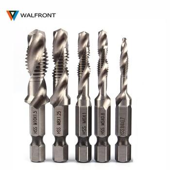 цена на WALFRONT 1/4 Hex Shank Drill Bit HSS Metric Screw Thread Tap Taper & Drill Bits Metric Composite Tap Drills M3 M4 M5 M6 M8 M10
