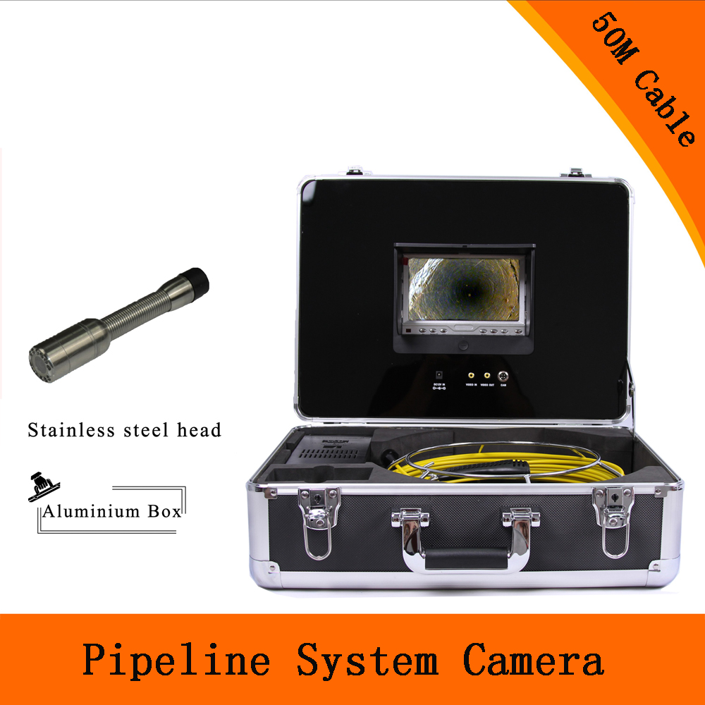 (1 set) 50M Cable 7 inch Color Monitor Sewer Pipeline System Inspection Camera HD 1100TVL Night version Endoscope