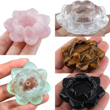 TUMBEELLUWA 2 Carved Gem stone Lotus Flower Crystal Ball Stand,Healing Sculpture