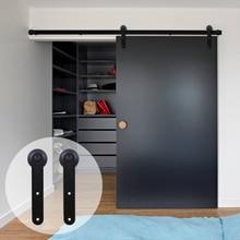 LWZH European Style Sliding Closet Wood Barn Door Hardware Kit Black Steel Round Shaped Hangers Track