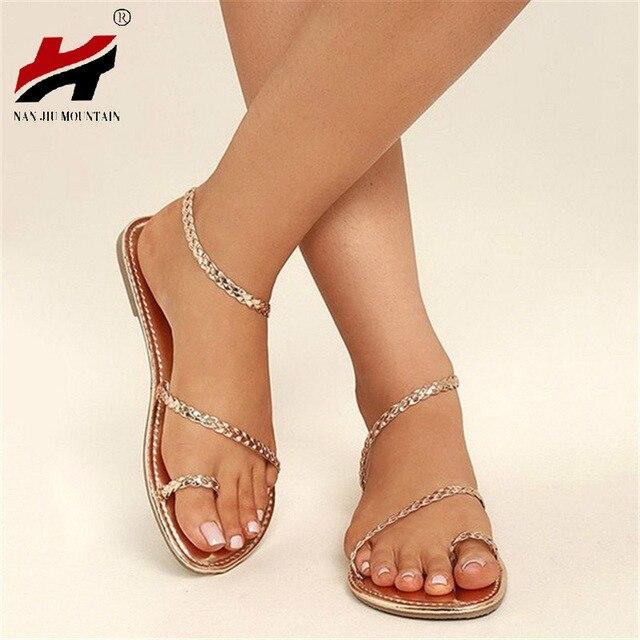 e807a6d61 NAN JIU MOUNTAIN Shoes Woman 2018 Summer Beach Roman Wind Toe Woven Flat  Sandals Women's Shoes Plus Size 35-43