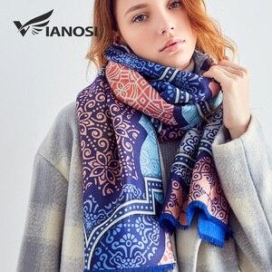 Image 3 - [VIANOSI] 2018 Women Scarf Wool Warm Scarves Fashion Classic Pattern Print Shawl Luxury Foulard Thicken Hijab Scarf