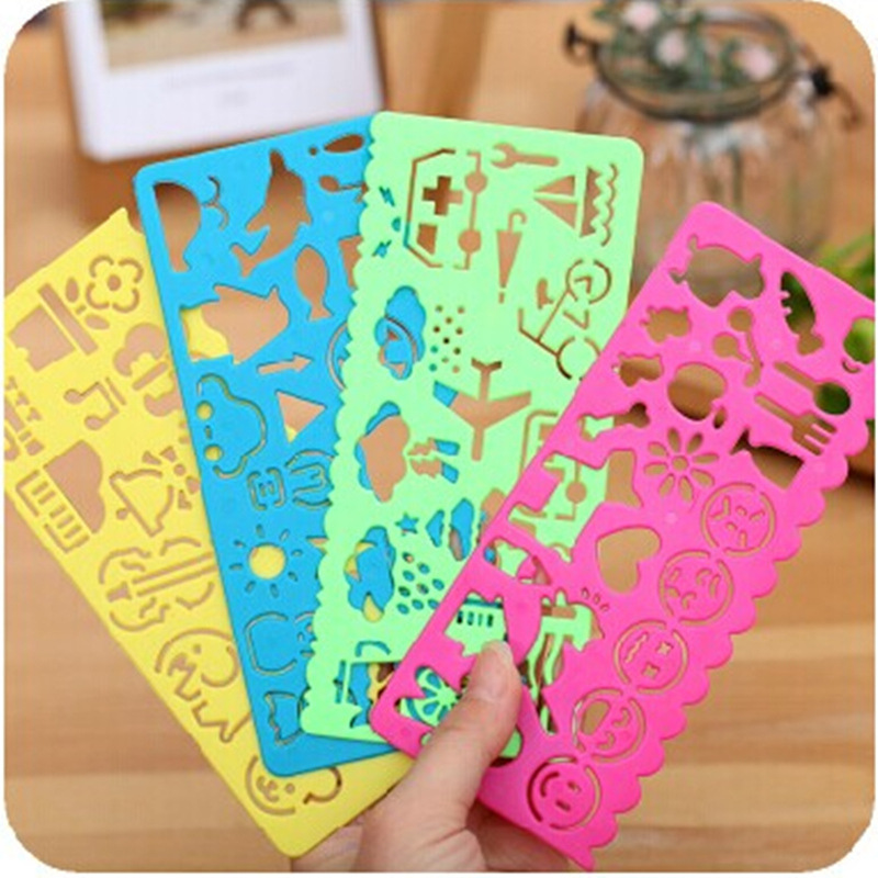 4 PCS Stationery Candy Color Ruler Oppssed Drawing Template Office Painting Supplies