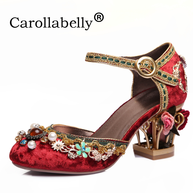 Carollabelly 2018 Hand Made fashion brand shoes luxury big size flower pearl high heel women pumps party wedding crystal shoes