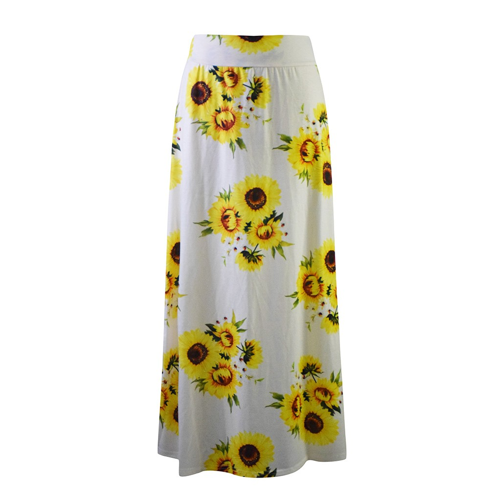 Womail  long skirts for women High Waist Sunflower Printed Bodycon Comfort Long Maxi Skirt plus size saias longas para mulheres
