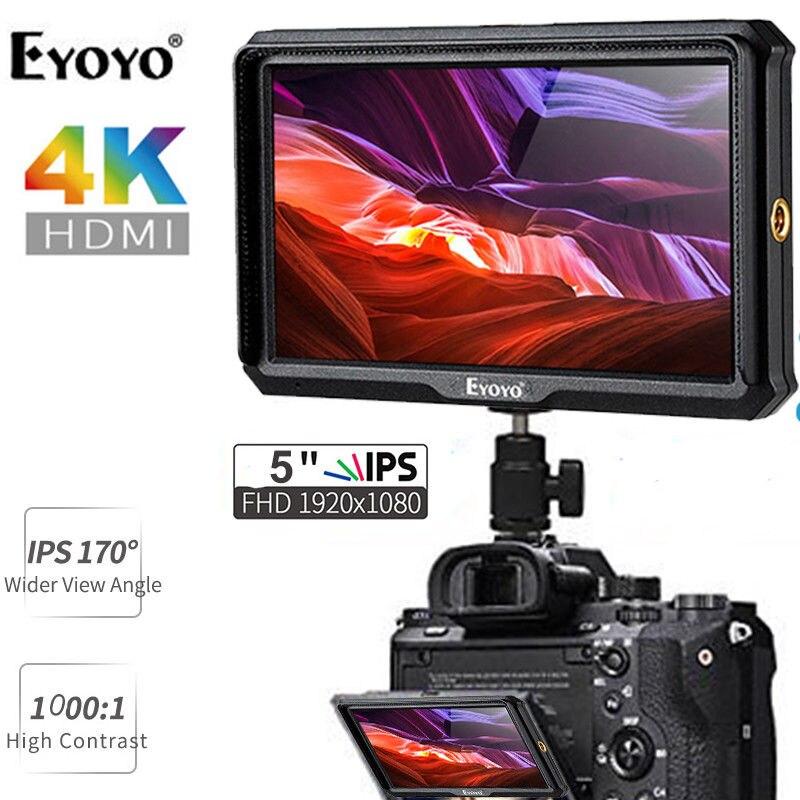 Eyoyo A5 5 pollice 1920x1080 HD 441ppi IPS Dello Schermo Della Macchina Fotografica Monitor di 4 k HDMI di Ingresso e in uscita Video per Zhiyun Gru 2 m TILTA G2X