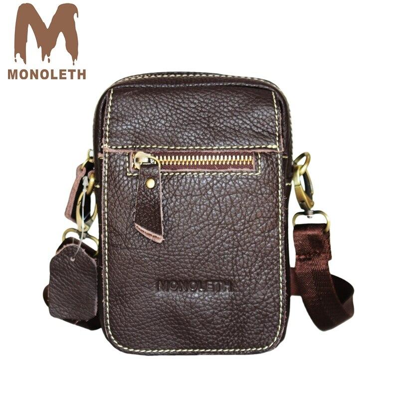 MONOLETH Fashion Casual Daily Men Crossbody Bag Genuine Teather Handbags Mens Shoulder Bags Small Messenger Bag W6005-2C